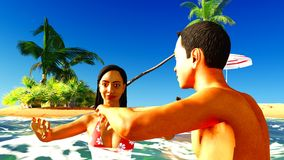 Romatic couple in tropical paradise at sunset Royalty Free Stock Photos