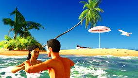Romatic couple in tropical paradise at sunset Stock Images