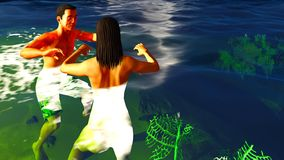 Romatic couple in tropical paradise at sunset Stock Photos
