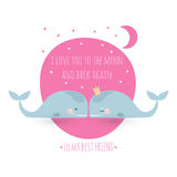 Romatic greeting card with whales. Card about friendship. I love Royalty Free Stock Image