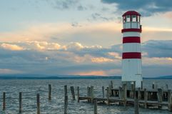 Beacon, neusiedlersee, austria. Romatic location with beacon at neusiedlersee royalty free stock photography