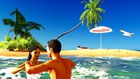 Romatic para w tropikalnym raju przy zmierzchem ilustracja wektor