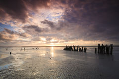 Romatic Sonnenaufgang in den Niederlanden Stockfotografie