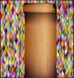 Romb background with old paper roll. Many colored romb background and retro stylized empty sheet of paper roll stock illustration