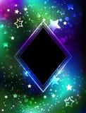 Rombo preto com aurora boreal Fotos de Stock Royalty Free