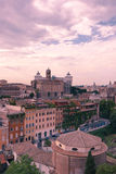 Rome. Image take from the Pallatino Hill showing the city hall of Rome and the Vittorio Emanuelle monument in the background stock photography