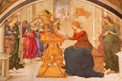 Rome - Aankondiging door helper van Aiuto del Pinturicchio in Basso-de kapel van dellarovere in Di Santa Maria van de kerkbasilie Royalty-vrije Stock Fotografie