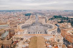 Rome from above, panoramic shot from the Saint Peters Basilica d Royalty Free Stock Images
