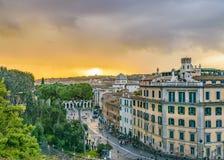 Rome Aerial Cityscape View From Campidoglio. ROME, ITALY, DECEMBER - 2017 - Aerial cityscape view from viewpoint at top of campidoglio at Rome city, Italy Stock Photos