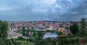 Rome aerial cityscape view from Pincian Hill at sunset - Rome, Italy Royalty Free Stock Photos