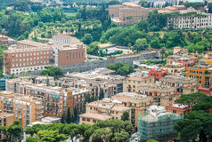 Rome aerial view. Aerial view of the buildings and streets from the roof point of The Papal Basilica of St. Peter in Vatican city, Italy stock images
