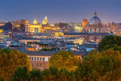 Rome. Aerial view of the city at night. Royalty Free Stock Images