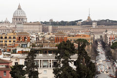 Rome, aerial view panorama landscape. Vatican, Saint Peter. A breathtaking view of the city of Rome (Italy). View from above. Aerial view of the city of Rome Royalty Free Stock Photo