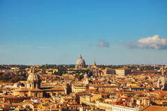 Rome aerial view with the Papal Basilica of St. Peter. In the Vatican city royalty free stock image