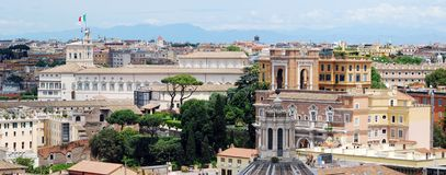 Rome aerial view from Vittorio Emanuele monument Stock Images
