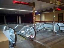 Rome Airport. Escalators illuminated at Rome airport Fiumicino Stock Images