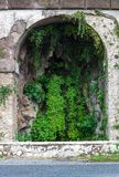 Rome ancient archway stone wall with growing ivy, background concept stock image