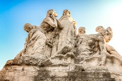 Rome ancient sculptures. Su and moon emotions. Part of bridge. Excursion. Rome ancient sculptures. Part of bridge. Excursion. Meaningful composition: sun and royalty free stock photos