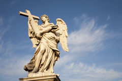 Rome - angel with the cross - Angels bridge Royalty Free Stock Image