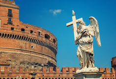 Rome - Angel and SantAngelo Castle Stock Images