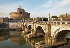 Rome - Angels bridge and castle Stock Photo