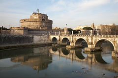 Rome - Angels bridge and castle in morning Stock Images