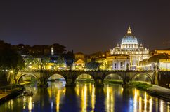 Rome, Angels bridge and St. Peter Stock Photography