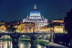 Rome, Angels bridge and St. Peter Stock Photos
