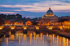 Rome - Angels bridge and St. Peter s basilica Royalty Free Stock Image