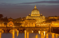 Rome - Angels bridge and St. Peters basilica in evening Royalty Free Stock Images