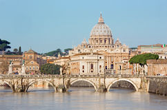 Rome - Angels bridge and St. Peters basilica Stock Images