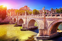 Rome Angels Castle Bridge. River Tiber near Vatican. Rome, Italy Royalty Free Stock Photos