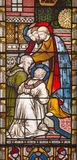 Rome - The Apostles giving the blessing to St. Paul and Barnabas in Jerusalem. The stained glass of All Saints` Anglican Church Royalty Free Stock Photography