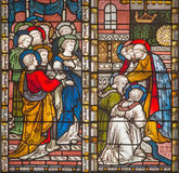 Rome - The Apostles giving the blessing to St. Paul and Barnabas in Jerusalem. The stained glass of All Saints` Anglican Church Royalty Free Stock Photo