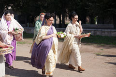 ROME - APRIL 22: Participants of  historic-dress procession prep Stock Photography