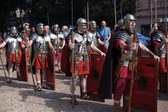 ROME - APRIL 22: Participants of  historic-dress procession prep Stock Photos