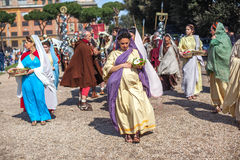 ROME - APRIL 22: Participants of  historic-dress procession prep Stock Images
