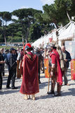 ROME - APRIL 22: Participants of  historic-dress procession prep Royalty Free Stock Photo