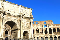 Rome. Arch of Constantine (Arco di Costantino), a triumphal arch in Rome, located between the Colosseum and the Palatine Hill Stock Photo