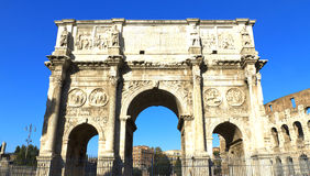 Rome. Arch of Constantine (Arco di Costantino), a triumphal arch in Rome, located between the Colosseum and the Palatine Hill Stock Images
