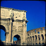 Rome. Arch of Constantine (Arco di Costantino), a triumphal arch in Rome, located between the Colosseum and the Palatine Hill Royalty Free Stock Image