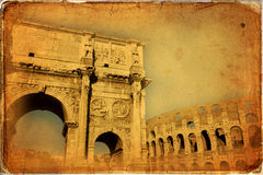Rome. Arch of Constantine (Arco di Costantino), a triumphal arch in Rome, located between the Colosseum and the Palatine Hill Stock Photography