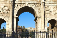 Rome. Arch of Constantine (Arco di Costantino), a triumphal arch in Rome, located between the Colosseum and the Palatine Hill Royalty Free Stock Photos