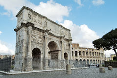 Rome Arch of Constantine. Rome monument Arch of Constantine and colosseum Stock Images