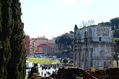 Rome, Arch of Constantine. Right next to the Colosseum stands the Arch of Constantine, erected in the early fourth century to celebrate the victory of Stock Image