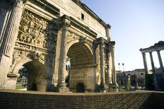 Rome the arch of Septimius colonnade relief  battle Stock Images