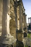 Rome The Arch Of Septimius Severus antiquity relief. Marble column Royalty Free Stock Photo