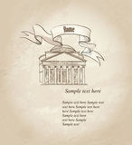 Rome architectural background. Old paper texture. Classical building Royalty Free Stock Image