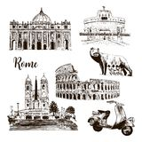 Rome architectural symbols: Coliseum, St. Peter Cathedral, wolf, romulus, scooter etc drawn vector sketch illustration. royalty free illustration