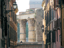 Rome Architecture. Roman architetture shown from tipical narrow street in Rome Royalty Free Stock Image